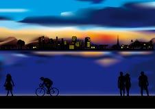 θερινή πόλη βραδιού ελεύθερη απεικόνιση δικαιώματος