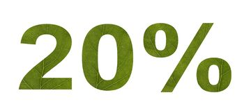 Θερινή πώληση Έκπτωση 20 τοις εκατό, απομονωμένο λευκό υπόβαθρο Η σύσταση του φύλλου του δέντρου ελεύθερη απεικόνιση δικαιώματος