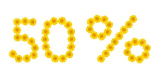 Θερινή πώληση Έκπτωση 50 τοις εκατό, απομονωμένο λευκό υπόβαθρο Σύμβολα των κίτρινων λουλουδιών hrezentemy Έμβλημα, ιπτάμενο, πρό στοκ εικόνες