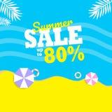 Θερινή πώληση μέχρι 80% με το σχεδιάγραμμα υποβάθρου δύο ομπρελών για τα εμβλήματα απεικόνιση αποθεμάτων