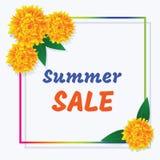 Θερινή πώληση αφισών Χρωματισμένα πλαίσιο και λουλούδια με το inscripti Στοκ Εικόνες