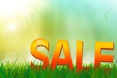 Θερινή πώληση επάνω σε έναν τομέα χλόης Στοκ εικόνα με δικαίωμα ελεύθερης χρήσης