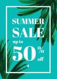 Θερινή πώληση επάνω στο TU 50 τοις εκατό μακριά Ιστός-έμβλημα ή αφίσα με το wat Στοκ εικόνες με δικαίωμα ελεύθερης χρήσης