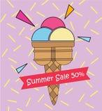 Θερινή πώληση 50% τέχνης παγωτού λαϊκή χαριτωμένος ζωηρόχρωμος Στοκ Φωτογραφία