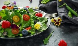 Θερινή σαλάτα με τα εδώδιμα λουλούδια, το σπανάκι, τα βακκίνια, το σμέουρο, τα γλυκά μπιζέλια, τις ντομάτες κερασιών και το τυρί  Στοκ φωτογραφία με δικαίωμα ελεύθερης χρήσης