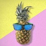Θερινή τέχνη διασκέδασης με τα φρούτα και τα γυαλιά ηλίου ανανά στοκ εικόνες