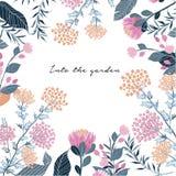 Θερινή Floral ευχετήρια κάρτα με τα ανθίζοντας γλυκά λουλούδια διανυσματική απεικόνιση