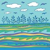 Θερινοί θάλασσα και ουρανός με τα σύννεφα και τα πουλιά Στοκ Εικόνες