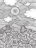 Θερινοί θάλασσα και ουρανός με τα σύννεφα και τον ήλιο Στοκ Εικόνα