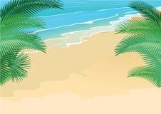 Θερινοί παραλία και φοίνικες ελεύθερη απεικόνιση δικαιώματος