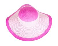 Θερινού αχύρου καπέλο που απομονώνεται ρόδινο Στοκ Φωτογραφία