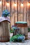 θερινός κήπος με το ξύλινες στάδιο και τη γιρλάντα των φω'των για τα κόμματα ή τον υπαίθριο γάμο στοκ φωτογραφία