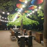 Θερινός καφές με το φωτισμό βραδιού σε Sloviansk στοκ εικόνα με δικαίωμα ελεύθερης χρήσης