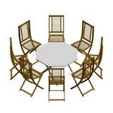 Θερινός πίνακας με τις καρέκλες r r διανυσματική απεικόνιση
