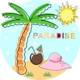 Θερινός παράδεισος αφισών - διανυσματική απεικόνιση, eps διανυσματική απεικόνιση