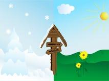 θερινός χειμώνας τοπίων ελεύθερη απεικόνιση δικαιώματος