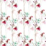 Θερινό άνευ ραφής σχέδιο με τα τυποποιημένα λουλούδια Στοκ Εικόνες