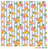 Θερινό άνευ ραφής σχέδιο με hibiscus και τα φρούτα Στοκ Εικόνες