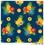 Θερινό άνευ ραφής σχέδιο με hibiscus και τα φρούτα Στοκ εικόνα με δικαίωμα ελεύθερης χρήσης