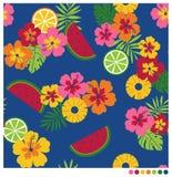 Θερινό άνευ ραφής σχέδιο με hibiscus και τα φρούτα Στοκ Εικόνα