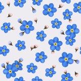 Θερινό άνευ ραφής σχέδιο με μπλε forget-me-nots Στοκ εικόνα με δικαίωμα ελεύθερης χρήσης