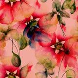Θερινό άνευ ραφής σχέδιο με τα λουλούδια Στοκ Εικόνες