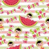 Θερινό άνευ ραφής σχέδιο με το χαριτωμένο κορίτσι και καρπούζι στα ριγωτά κινούμενα σχέδια υποβάθρου για τη θερινή ταπετσαρία Στοκ Εικόνα