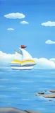 Θερινό έμβλημα, τοπίο με την πλέοντας βάρκα Στοκ Εικόνες
