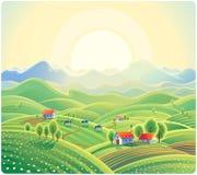 Θερινό αγροτικό τοπίο με το χωριό διανυσματική απεικόνιση