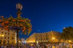 Θερινό βράδυ στο κέντρο πόλεων Οδησσός Ουκρανία Στοκ Φωτογραφία