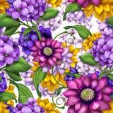 Θερινό ζωηρόχρωμο floral άνευ ραφής σχέδιο Στοκ Φωτογραφία