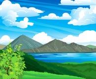 θερινό ηφαίστειο τοπίων λιμνών Απεικόνιση αποθεμάτων