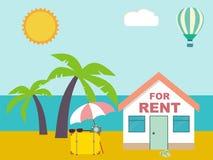 Θερινό θέρετρο Σπίτι για το μίσθωμα στην παραλία απεικόνιση αποθεμάτων