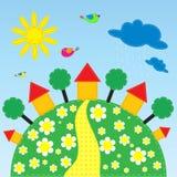 Θερινό λιβάδι με τα σπίτια και τα πουλιά Στοκ εικόνες με δικαίωμα ελεύθερης χρήσης