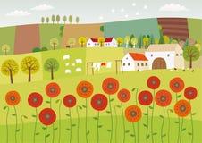 Θερινό καθαρό χωριό απεικόνιση αποθεμάτων