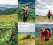 Θερινό κολάζ βουνών ταξιδιού στοκ εικόνες με δικαίωμα ελεύθερης χρήσης
