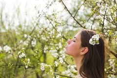 Θερινό κορίτσι με μακρυμάλλη άνθος πράσινη γυναίκα άνοιξη έννοιας κίτρινη Άνοιξη και διακοπές Φυσική ομορφιά και θεραπεία SPA Γυν στοκ φωτογραφία με δικαίωμα ελεύθερης χρήσης