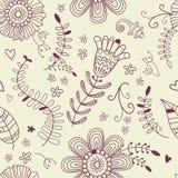 Θερινό μονοχρωματικό άνευ ραφής σχέδιο η αφηρημένη ανασκόπηση διακλαδίζεται διακοσμητικό floral διάνυσμα απεικόνισης Στοκ Εικόνες
