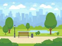 Θερινό πάρκο πόλεων με τον πράσινο πάγκο, τη διάβαση πεζών και το φανάρι δέντρων η αλλοδαπή γάτα κινούμενων σχεδίων δραπετεύει το διανυσματική απεικόνιση