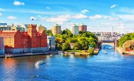 Θερινό πανόραμα της Στοκχόλμης, Σουηδία Στοκ εικόνα με δικαίωμα ελεύθερης χρήσης