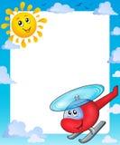 Θερινό πλαίσιο με τον ήλιο και το ελικόπτερο ελεύθερη απεικόνιση δικαιώματος