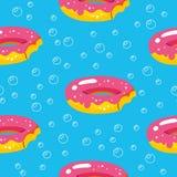 Θερινό σχέδιο με τα επιπλέοντα σώματα donuts και λίμνη στο υπόβαθρο φυσαλίδων Αφηρημένο, τροπικό άνευ ραφής σχέδιο Για το κλωστοϋ διανυσματική απεικόνιση