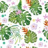 Θερινό σχέδιο με τα τροπικά φύλλα και τα πράσινα, ρόδινα λουλούδια στοκ εικόνες