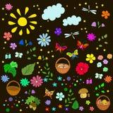 Θερινό σχέδιο παιδιών ` s με τα λουλούδια, φύλλα, Στοκ Εικόνες