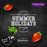 Θερινό σχέδιο Αφίσα για τις καλοκαιρινές διακοπές Υπόβαθρο πινάκων κιμωλίας Στοκ Εικόνες