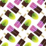 Θερινό σχέδιο με το φρέσκο ρεαλιστικό και ζωηρόχρωμο παγωτό Fash Στοκ Εικόνες