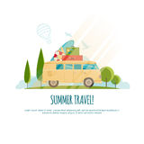 Θερινό ταξίδι, ταξίδι με το αυτοκίνητο, παγκόσμιο ταξίδι, ταξίδι, απεικόνιση τουρισμού Στοκ Φωτογραφίες