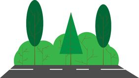 Θερινό τοπίο, δρόμος με τους Μπους και τα δέντρα Επίπεδη εικόνα Στοκ Εικόνες