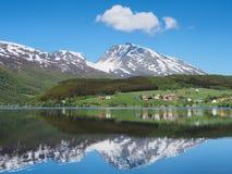 Θερινό τοπίο με την αντανάκλαση, απότομα βουνά σε ένα υπόβαθρο Στοκ Φωτογραφία