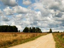Θερινό τοπίο με την πράσινους χλόη, το δρόμο και τα σύννεφα στοκ φωτογραφίες με δικαίωμα ελεύθερης χρήσης